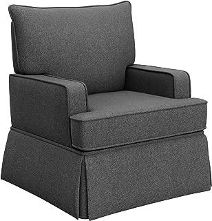 Storkcraft Davenport Upholstered Swivel Glider, Shadow Cleanable Upholstered Comfort Rocking Nursery Swivel Chair