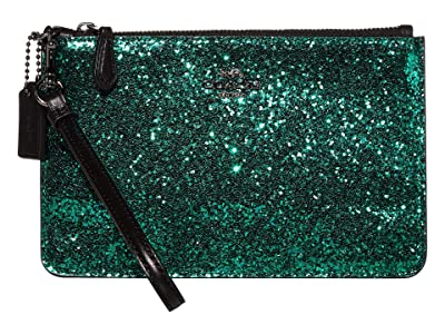 COACH Small Wristlet (Emerald/Gunmetal) Clutch Handbags