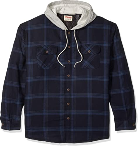 Wrangler Authentics Long Men's Sleeve Quilted Lined Flannel Jacket Hood Shirt Coat