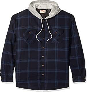 Men's Long Sleeve Quilted Lined Flannel Shirt Jacket With Hood