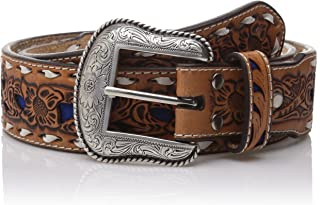 Nocona Men's Natural Blue Wide Buckstitch Belt