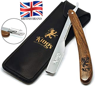 Cut Throat Razor for Men by The Kings Cutthroat® - Men's Cutthroat Shaving Straight Slider – Leather Travel Pouch and Velv...