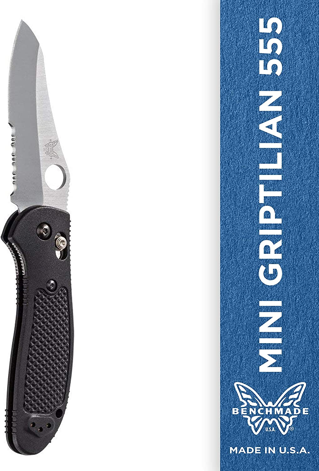 Benchmade UnisexAdult Benchmade  Mini Griptilian 555 Knife with CPMS30V Steel, Sheepsfoot Blade, Serrated Edge 555SS30V, Satin Finish Black Handle
