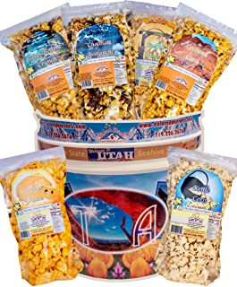 Popcorn by Colorado Kernels Popcorn Delights | 3.5 Gal CELEBRATE UTAH Bucket with 6 lg resealable bags | Kettle Corn, Cheddar Cheese, Caramel, Chocolate, Almonds/Pecans, Buffalo Ranch