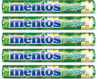 Mentos Green Apple Gruner Apfel From Germany 1.32oz Pack of 5
