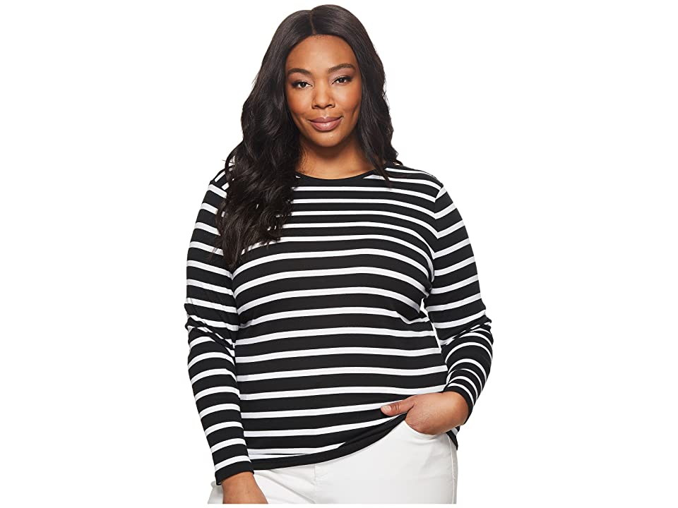 LAUREN Ralph Lauren Plus Size Striped Button-Shoulder Top (Black/White) Women