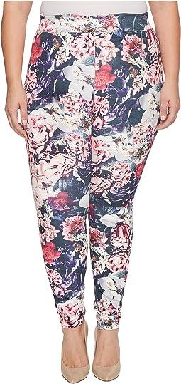 HUE - Plus Size Gala Floral Velvet Leggings