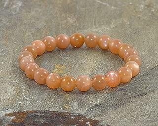 8mm Peach Moonstone Bracelet, AAA Grade, Peach Moonstone Jewelry, Positive Energy, Creativity, Adventure, Sexuality, Chakra & Meditation Bracelet, Happiness