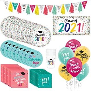 Party City Class of 2021 Yay Grad Tableware Kit for 18 Guests, Graduation Decorations, Includes Banner, Balloons