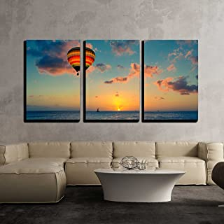 wall26 - 3 Piece Canvas Wall Art - Hot air Balloon with Sunset at The sea Background - Modern Home Decor Stretched and Framed Ready to Hang - 16