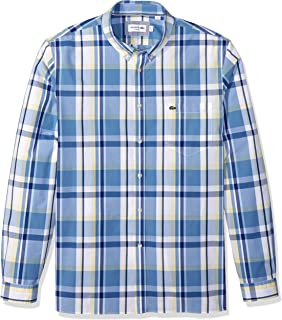 Lacoste Men's Long Sleeve Printed Plaid Popeline Slim Fit Woven Shirt