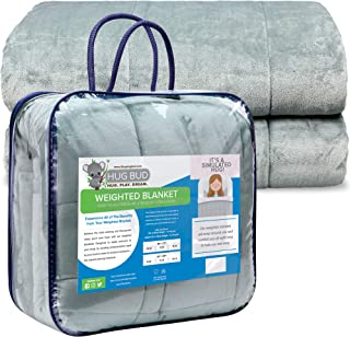 """Hug Bud 20 lb Fuzzy Weighted Blanket Adult 60x80"""" Queen Size – Heavy Duvet for Best Sleep Ever – Great Sensory Stimulation for Max Comfort and Tactile Stimulation – No Outer Cover Required"""