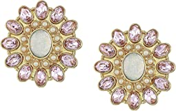 Blue by Betsey Johnson Pink and Gold Tone Flower Clip-On Earrings