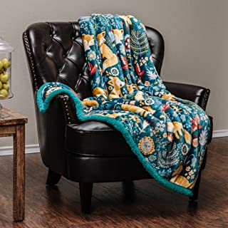 Chanasya Gold Fox Lush Nature Vibrant Color Print Gift Throw Blanket - Super Soft Cozy Snuggly Luxurious Chick Plush Sherpa for Birthday Kids Bed Couch Sofa Chair Office (50 x 65 Inches) - Teal Blue