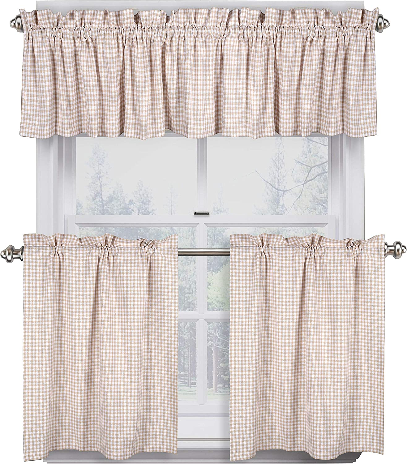 Native Fab 3 Pieces Window Curtain Tiers and Valance Set - Farmh