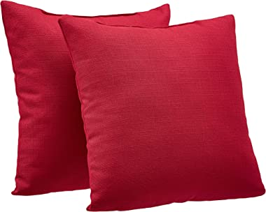 """AmazonBasics 2-Pack Linen Style Decorative Throw Pillows - 18"""" Square, Classic Red"""