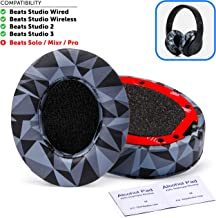 Beats Replacement Ear Pads by Wicked Cushions - Compatible with Studio 2.0 Wired/Wireless and Studio 3 Over Ear Headphones by Dr. DRE ONLY (Does NOT FIT Solo) (Geo Grey)