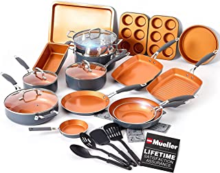 Mueller UltraClad Copper Pots and Pans Set, 24-Piece Kitchen Cookware and Bakeware Set, Non-Stick Coating, Aluminum Body, ...