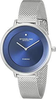 Stuhrling Women's Blue Dial Stainless Steel Band Watch - 589.02, Analog Display, Quartz Movement