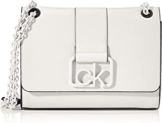 Calvin Klein Women's CK SIGNATURE CONV CROSSBODY MD Bag, Color: White-YAG, Size: One Size