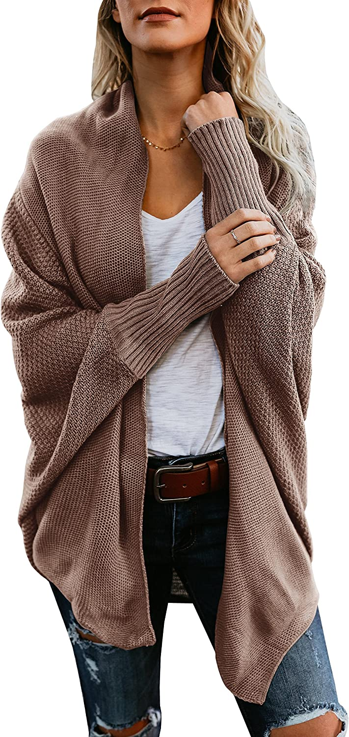 Womens Sweaters Knitted Draped Batwing Sleeve Open Front Loose Fit Winter Sweater Cardigan