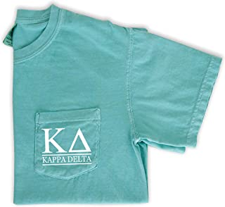 Kappa Delta Block Letters Shirt Sorority Comfort Colors Pocket Tee
