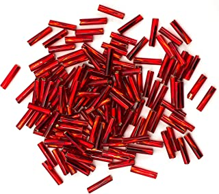 Cousin DIY Size 4 Red Czech Glass Twist Bugle Beads
