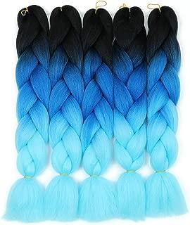 Two Tone Ombre Blue Synthetic Jumbo Braiding Hair Extensions 5 Bundles/Lot 100g/pc Fiber Braiding Hair for Twist 24