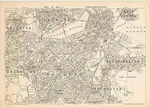 Historic Pictoric Map - Boston & Brookline & Cambridge & Dorchester & Roxbury & South Boston 1908 - Topographical Atlas of Massachusetts - Vintage Poster Art Reproduction - 24in x 18in