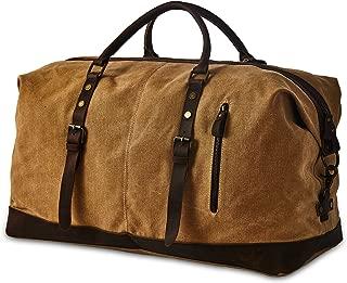 BRASS TACKS Leathercraft Men's Waxed Canvas Vintage Overnight Duffel Weekend Bag