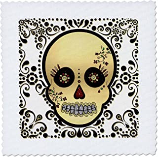 3dRose qs_175370_3 Sugar Skull Gold and Black Quilt Square, 8 by 8-Inch