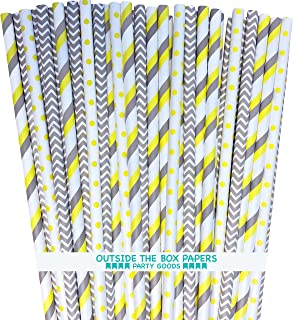 Paper Straws - Gray Yellow White - Stripe Chevron Polka Dot - 7.75 Inches - 100 Pack - Outside the Box Papers Brand