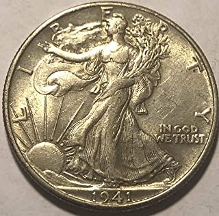 1941 P Silver Walking Liberty WWII ERA Beautiful Half Dollar AU-55+
