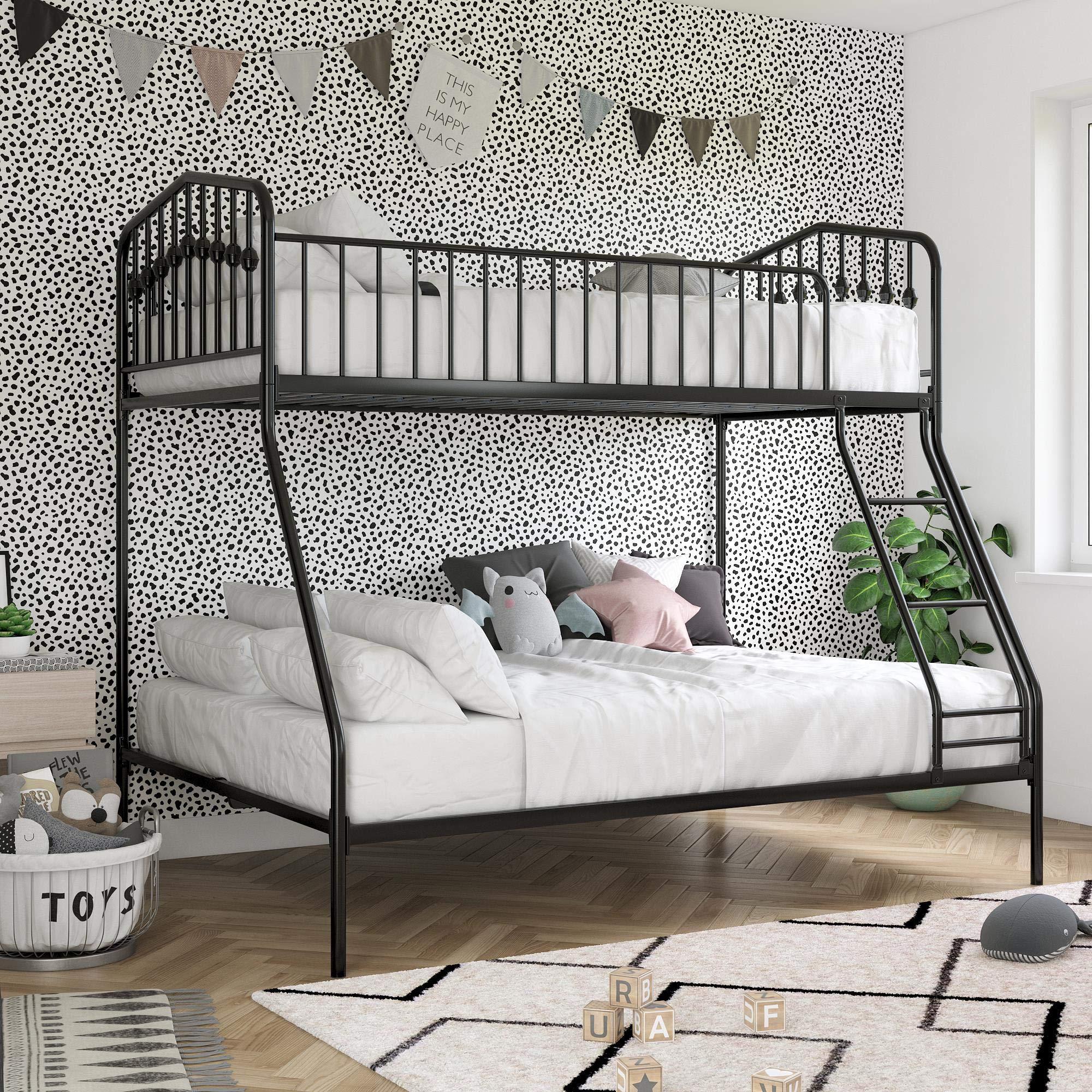 Novogratz Bushwick Metal Bed, Kid's Bedroom Furniture, Twin/Full, Black Bunk