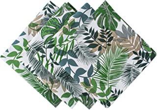 DII CBBB01339 Printed Cotton Napkins, Perfect for Brunch, Catering Events, Dinner Parties, Buffets, Spring Weddings or Everyday Use, Set, Tropical Leaves, 4 Pack