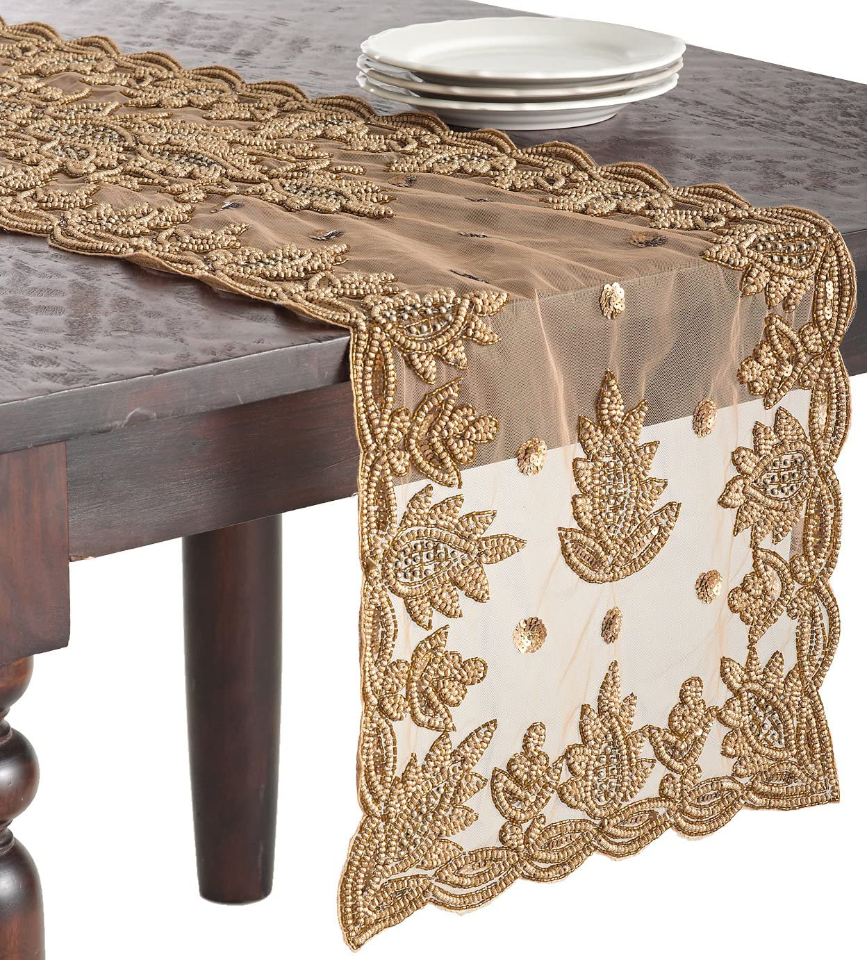 excellence SARO LIFESTYLE Gold Hand Free shipping anywhere in the nation Beaded Design Table Runner 16