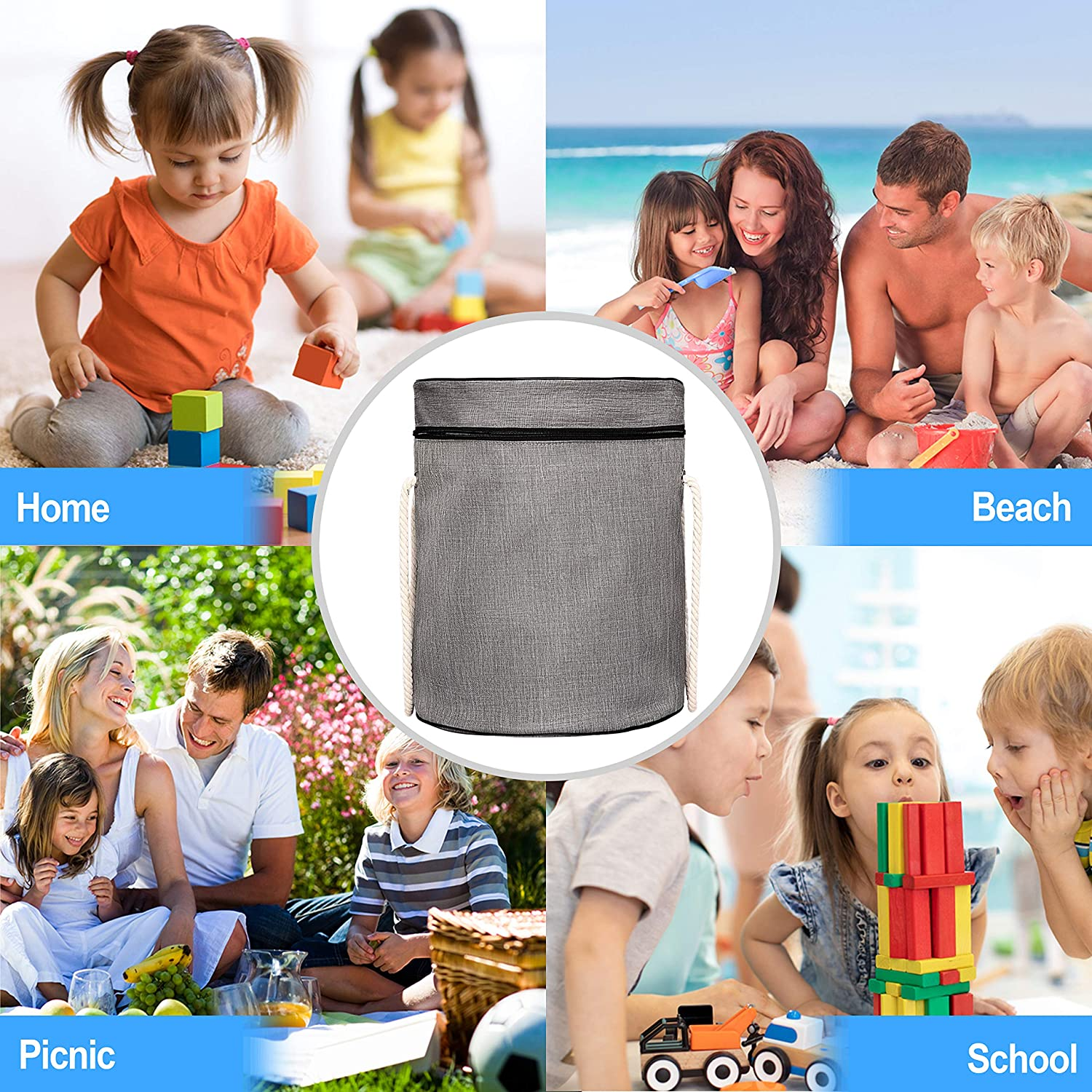 Outdoor Portable Toy Organizer Large Bag with Zipper Gray H:15.75, D:13 Collapsible Bucket UNE Design Toy Storage Basket and Play Mat Activity Mat Swoop Bag