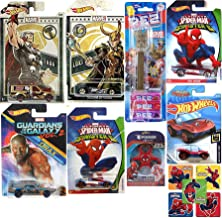 Hot Wheels Ultimate Spider-Man VS Sinister 6 Zotic BLVD. Bruiser Car Bundled with Loki + Drax / Thor & Groot Pez Head + Amazing Spider Mobile Marvel Die-Cast Toy Power Web Slinging Pack 8 Items