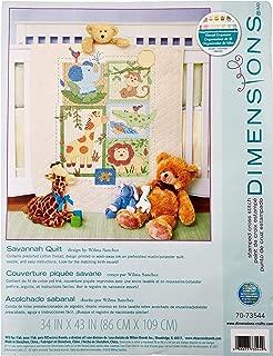 Dimensions Stamped Cross Stitch Safari Animals DIY Baby Quilt Kit, 34'' x 43''