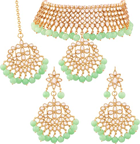 Traditional Kundan Mint Pearl Choker Necklace Set For Women K7058min