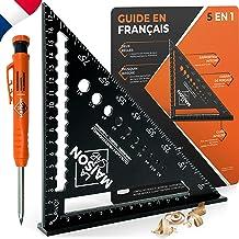Versie FR gradenboog, metaal aluminium [+ pen + handleiding FR] geleiderail / gereedschap voor timmerman/regel, gradenmete...