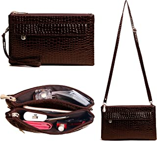 Clutch Purses for Women,Volganik Rock 4 Zip Pocket Large Wristlet Wallet Crossbody Handbag for Phone