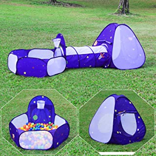 Homfu Kids Tent with Tunnel Pop-Up Playhouse with Ball Pit and Basket Hoop for Children&Toddler to Crawl Birthday Gift Play Tent for Boys Girls (Purple)