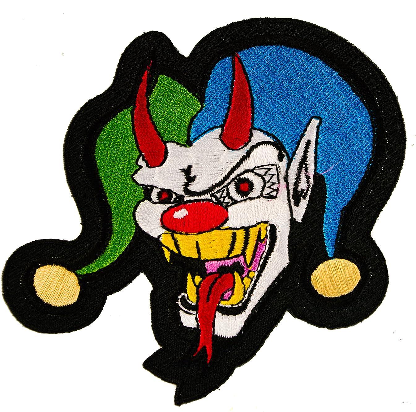 Joker Jester Evil Clown Skull Biker Iron on Embroidered Patch