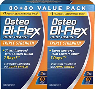 Glucosamine Chondroitin, Triple Strength by Osteo Bi-Flex w/ Vitamin C, Joint Health Supplements with Immune Support*, Gluten Free, Twin Pack, 160 Coated Tablets