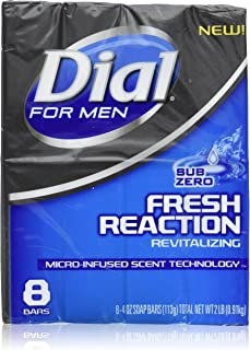Dial for Men Fresh Reaction, Sub Zero Glycerin Bar Soap, 4 Oz Bars, 8 Ct.
