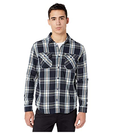 RVCA Reverberation Flannel Long Sleeve Button Up Shirt (Navy Marine) Men