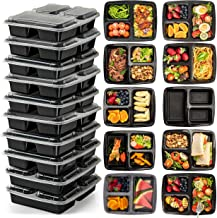 3 Compartment (10 Pack) Premium BPA Free Reusable Meal Prep Containers - Plastic Food Storage Trays with Airtight Lids - M...