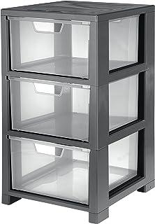 CEP Storage Tower with 3 drawers-25991, Grey/Cristal, 32.5 x 35 x 59.5 cm
