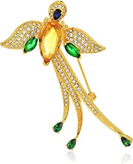 18k Gold Over Fine Silver Plated Bronze Created Blue Sapphire, Cubic Zirconia, and Crystal Bird of Peace Brooch Pin